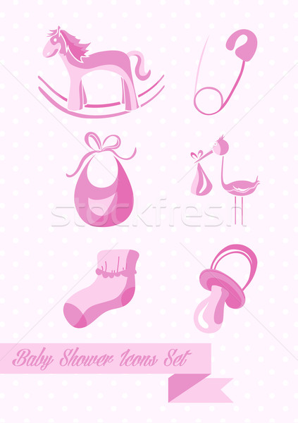 Stock photo: Baby shower girl icons set design