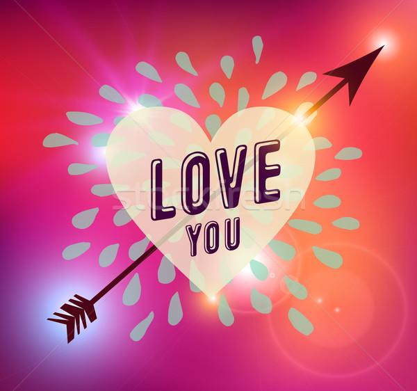 Happy Valentines day heart love illustration Stock photo © cienpies