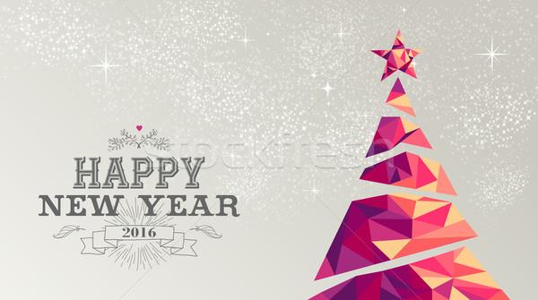 Happy new year 2016 card christmas tree triangle Stock photo © cienpies