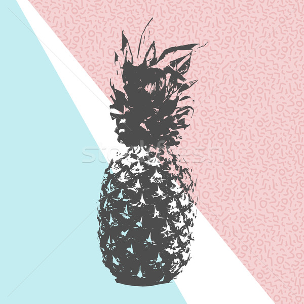 Retro summer pineapple design with 80s shapes Stock photo © cienpies