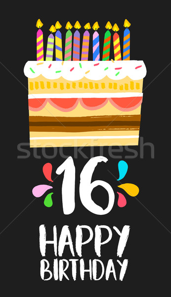 Happy Birthday cake card 16 sixteen year party Stock photo © cienpies