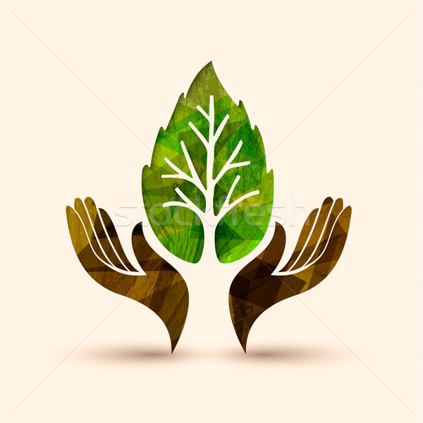 Mão árvore folha verde natureza ajudar ilustração Foto stock © cienpies