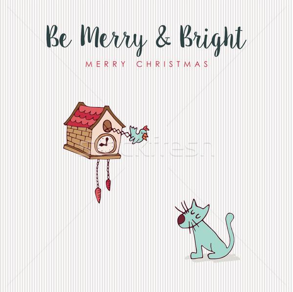 Christmas leuk kat vogel vakantie cartoon Stockfoto © cienpies