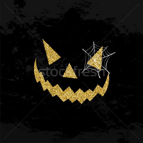 Halloween scary gezicht schitteren kunst ontwerp Stockfoto © cienpies