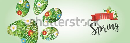 Hello Spring green leaf paper cutout web banner Stock photo © cienpies