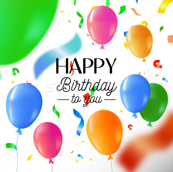 Happy birthday party fun balloon greeting card Stock photo © cienpies