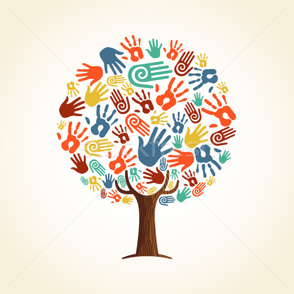 Human hand tree concept for community help Stock photo © cienpies