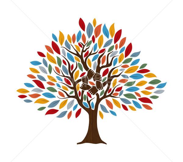 Ludzka ręka drzewo społeczności pomoc ludzi ręce Zdjęcia stock © cienpies