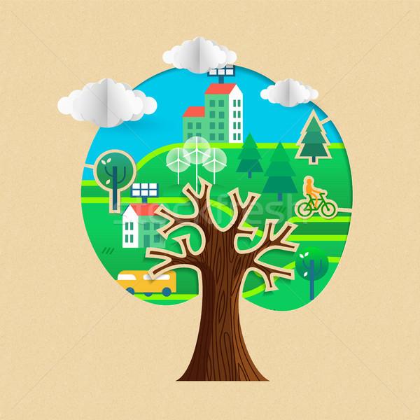 Stockfoto: Milieuvriendelijk · boom · duurzaam · stad · groene · stickers