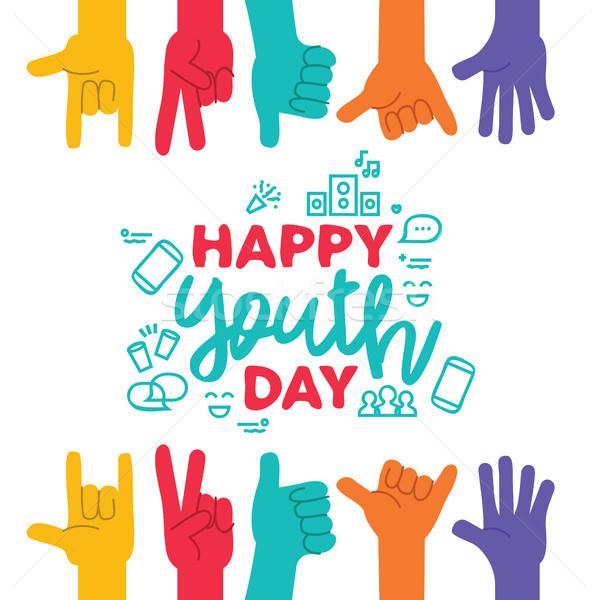 Jóvenes día tarjeta de felicitación diverso adolescente manos Foto stock © cienpies