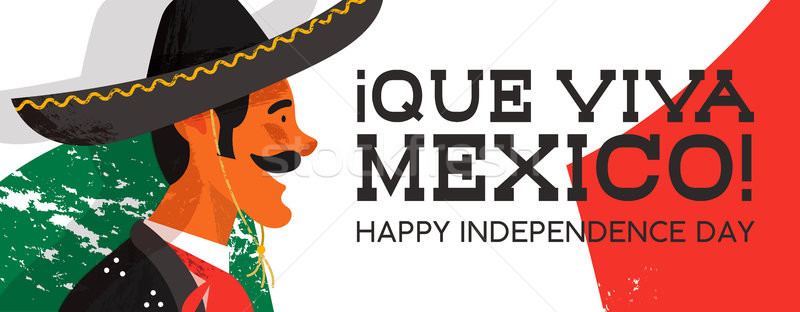 Mexico Independence Day banner of mariachi man Stock photo © cienpies