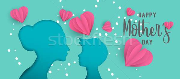 Mothers day paper cut web banner with little child Stock photo © cienpies