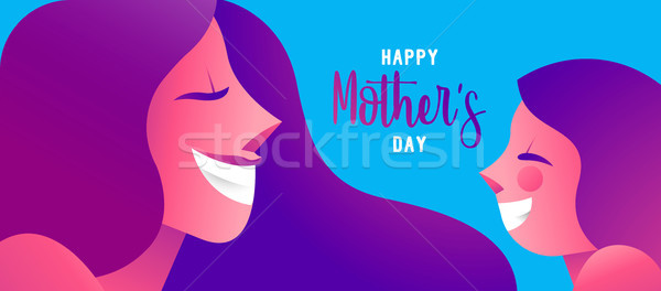 Happy mother day web banner of cute girl and mom Stock photo © cienpies