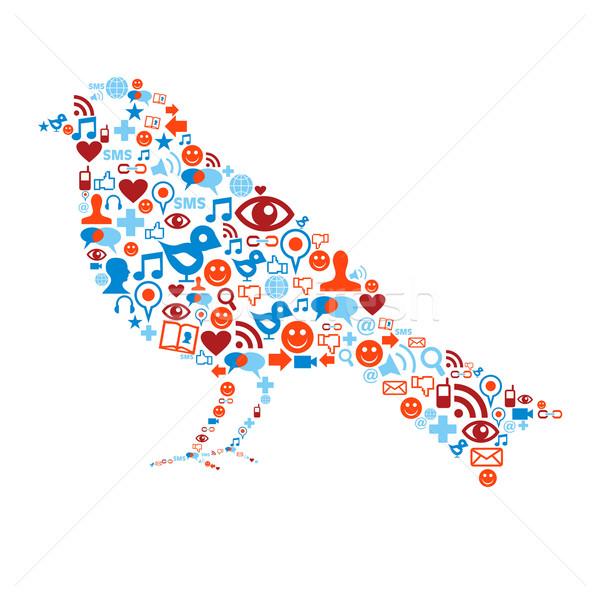 Social media ptaków tekstury człowiek Zdjęcia stock © cienpies