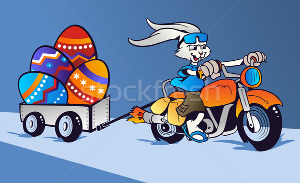 Crazy Easter Bunny cartoon in motorbike Stock photo © cienpies