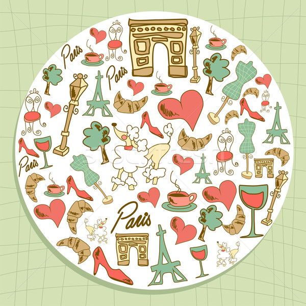 Travel Paris icon set circle Stock photo © cienpies