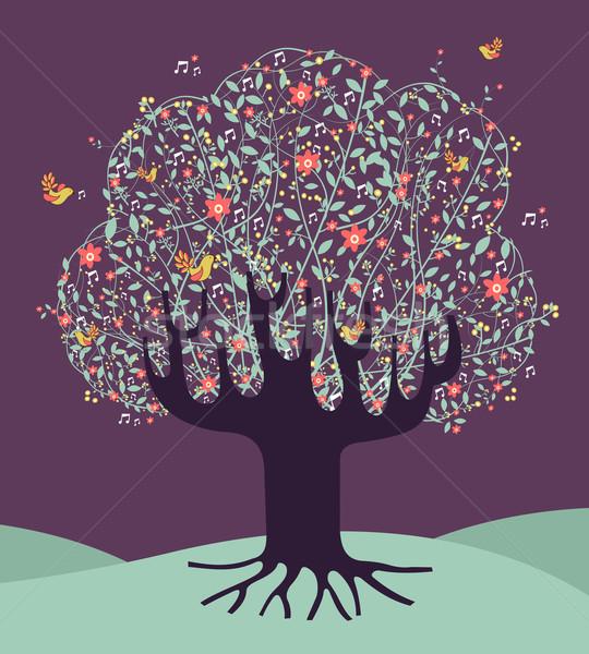Foto stock: Musical · primavera · tempo · árvore · flores · vetor