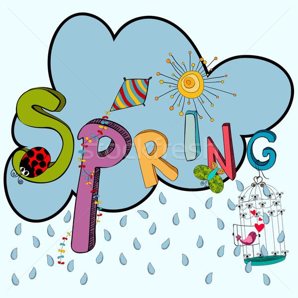 Spring raining cloud Stock photo © cienpies