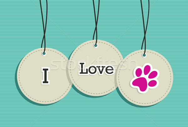 Hanging I love pets badges. Stock photo © cienpies