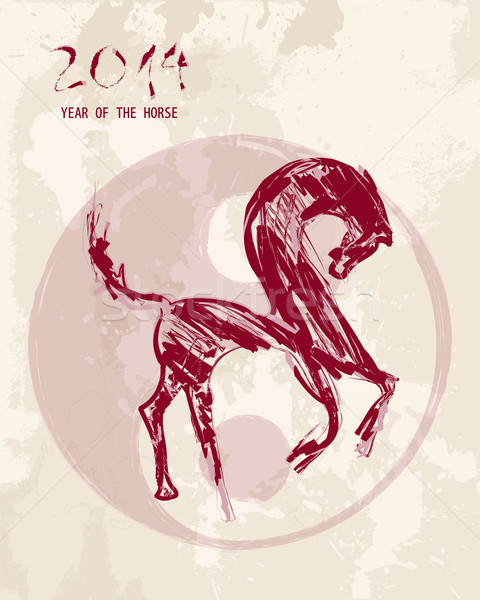 Chinese new year Horse sketch style vector file. Stock photo © cienpies