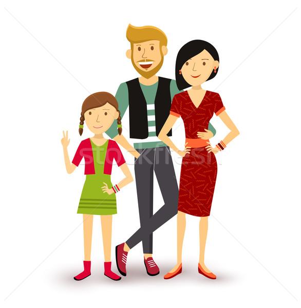 One child Happy family people flat illustration Stock photo © cienpies