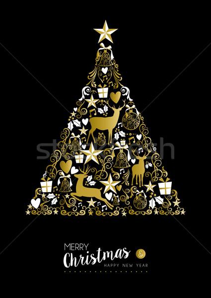 Joyeux Noël happy new year or noël arbre Photo stock © cienpies