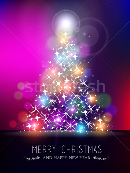Merry christmas new year bokeh light blur pinetree Stock photo © cienpies