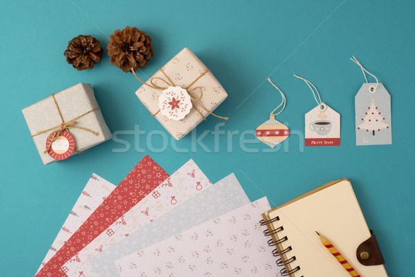 Noel tatil kırtasiye ayarlamak üst görmek Stok fotoğraf © cienpies