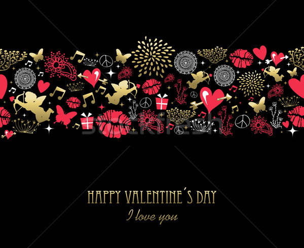 Valentines day greeting card pattern gold pink Stock photo © cienpies