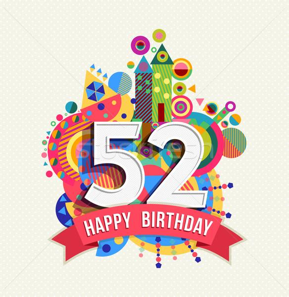 Feliz cumpleaños año tarjeta de felicitación anunciante color cincuenta Foto stock © cienpies