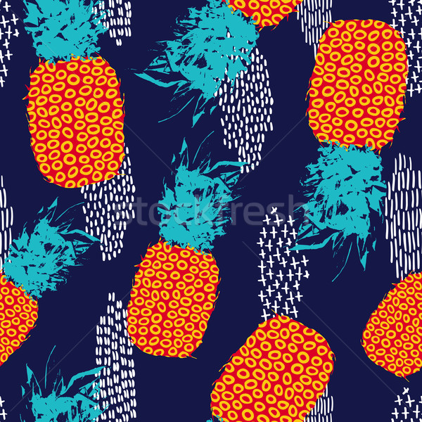 Summer seamless pattern with retro color pineapple Stock photo © cienpies