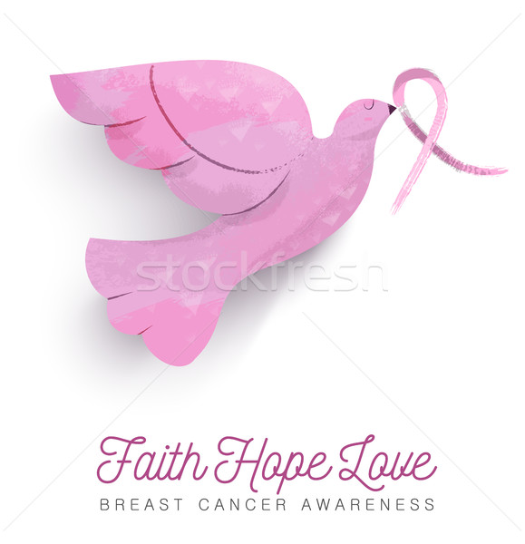 Breast cancer awareness pink bird with ribbon Stock photo © cienpies