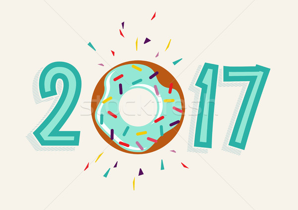 Happy New Year 2017 donut food greeting card Stock photo © cienpies