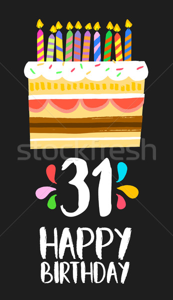 Happy Birthday card 31 thirty one year cake Stock photo © cienpies