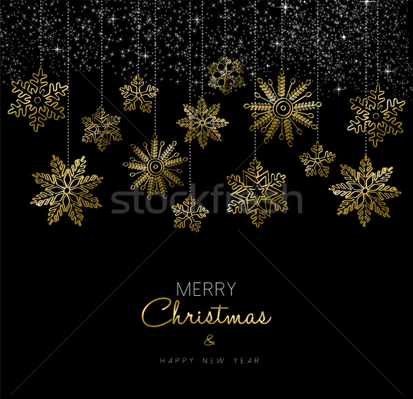 Christmas and New Year gold snow decoration card Stock photo © cienpies