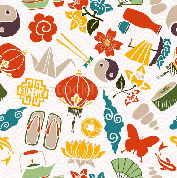Китайский Новый год азиатской культуры традиционный иконки eps10 Сток-фото © cienpies