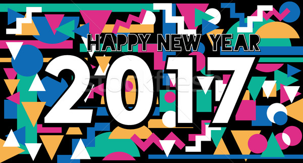 Happy New Year 2017 vintage lettering design Stock photo © cienpies