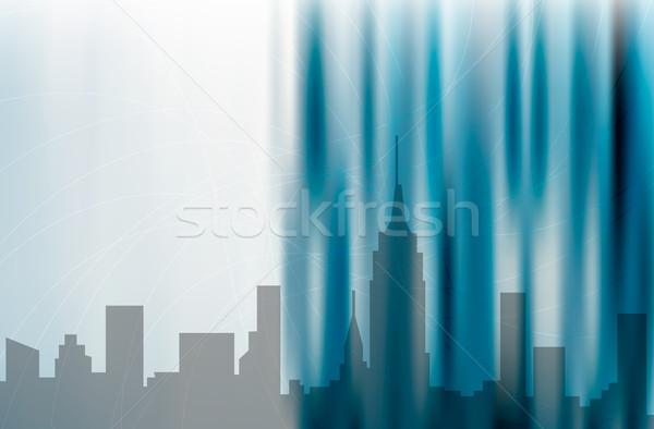 市 抽象的な 青 デザイン 実例 ストックフォト © cienpies