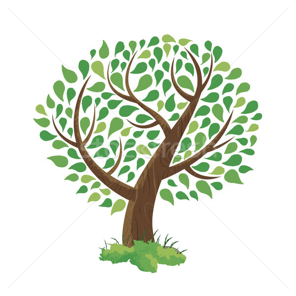 Green tree concept illustration hand drawn style Stock photo © cienpies