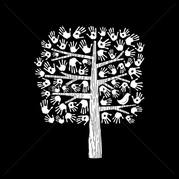Hand boom zwart wit gemeenschap helpen helpende hand Stockfoto © cienpies