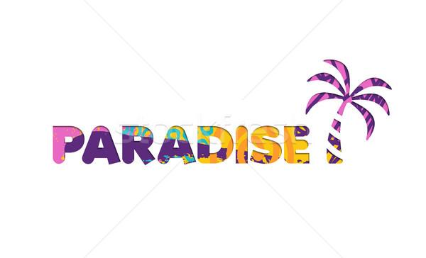 Sommerurlaub Strand Paradies Farbe zitieren Stock foto © cienpies
