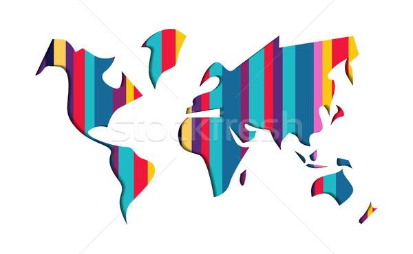 Zdjęcia stock: Mapie · świata · kolorowy · papieru · cięcia · streszczenie · ilustracja