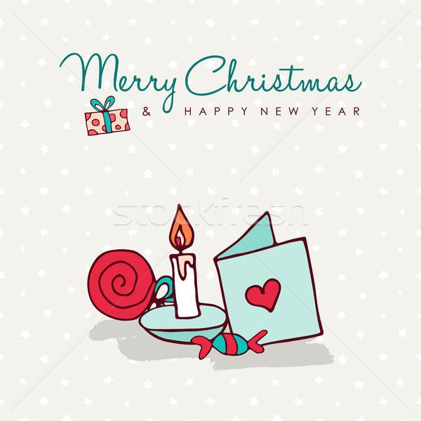 ストックフォト: クリスマス · かわいい · 漫画 · 装飾 · カード