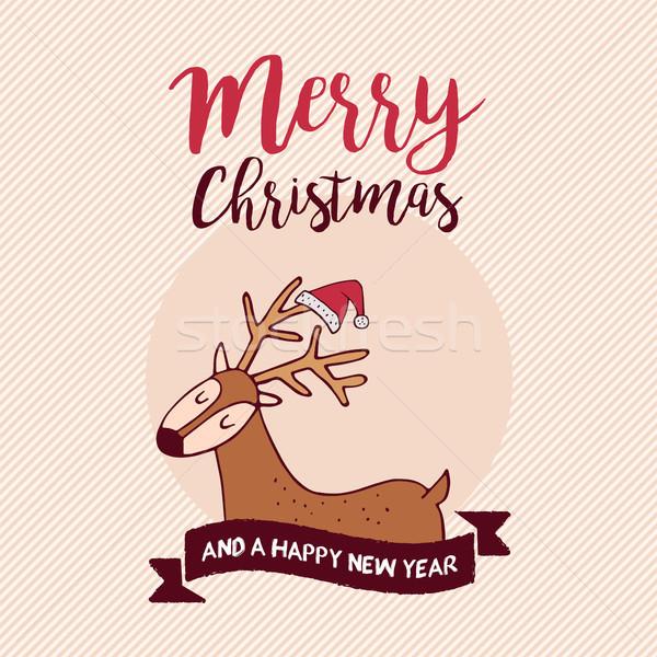 Karácsony új év ünnep mikulás szarvas vidám Stock fotó © cienpies