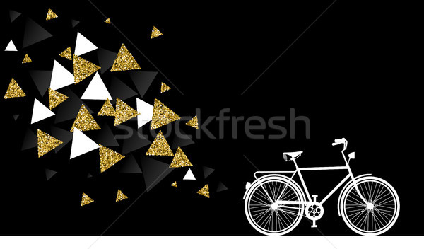 Gold glitter bike abstract concept illustration Stock photo © cienpies