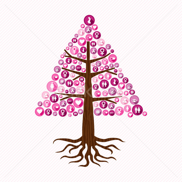 Breast cancer awareness pink health icon tree art Stock photo © cienpies