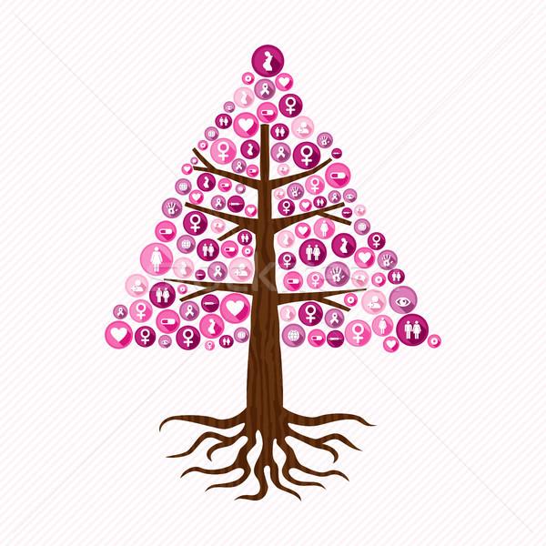 Cáncer de mama conciencia rosa salud icono árbol Foto stock © cienpies