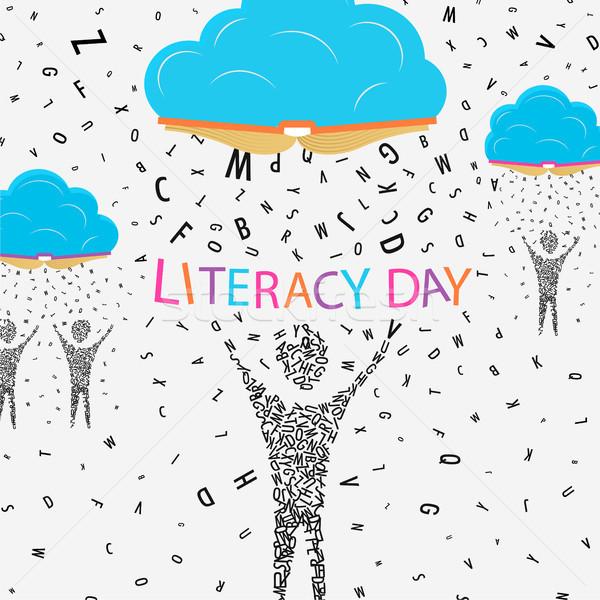 Alphabétisation jour enfants éducation illustration personnes Photo stock © cienpies