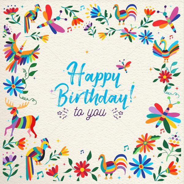 Joyeux anniversaire carte fleur animaux art design Photo stock © cienpies