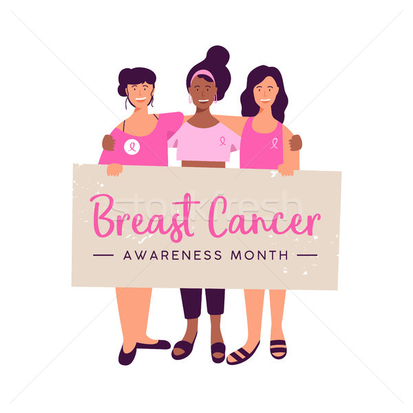 Breast Cancer Awareness month women friend group Stock photo © cienpies